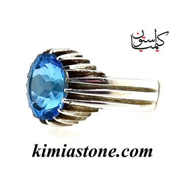 انگشتر دست ساز نقره ، توپاز آبی
